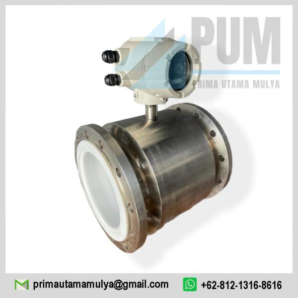 Electromagnetic 8 inch Calibrate pengukur aliran digital untuk cairan konduktif terbuat dari stainless steel SuS 316 L dan bahan pelapis dari PTFE.